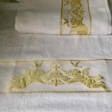 Крыжма полотенце для крещения махровая 70*140 ангелочки золото