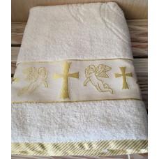 Крыжма полотенце для крещения махровая 70*140 золото