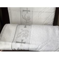Крыжма полотенце для крещения махровая 70*140 серебро