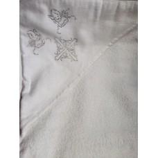 Крыжма  для крещения с уголком махровая 100*100 серебро